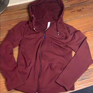 Aura burgundy hooded zip up jacket hoodie S/M